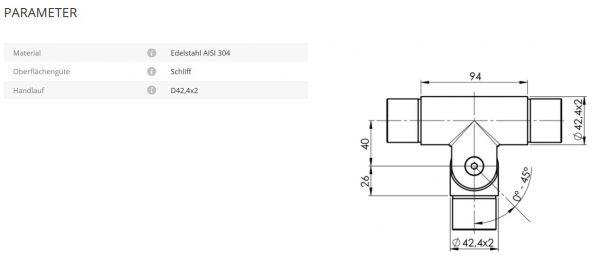 Handlaufverbinder 42,4 T-Stück mit flexiblem Abgang