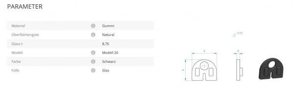 Glashalter Mod20 Gummi 8,76