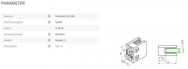 Glashalter Mod21 flach