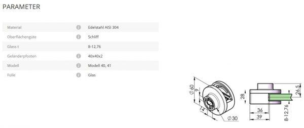 Glashalter Mod40 flach
