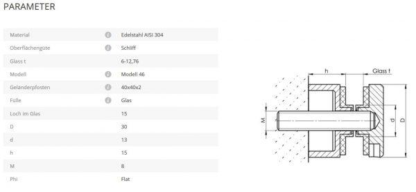 Glaspunkthalter Mod 46 flach