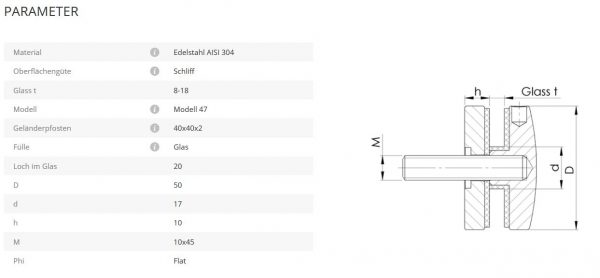 Glaspunkthalter Mod47 flach