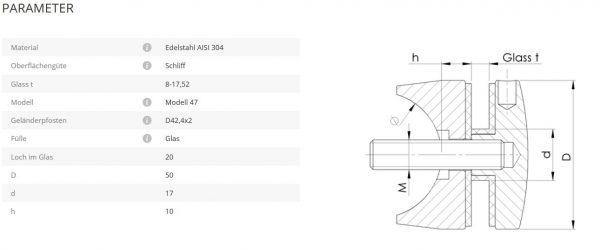Glaspunkthalter Mod47 42,4