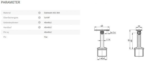 Rohrstütze 40x40 flach Gelenk