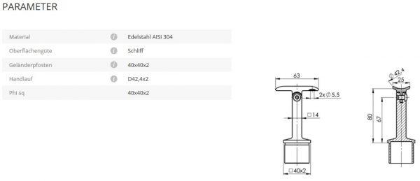 Rohrstütze 40x40 42,4 Gelenk