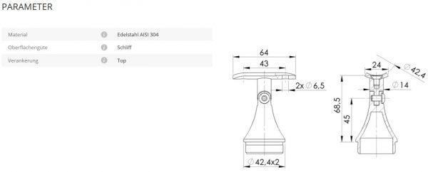 Rohrstütze 42,4/42,4 kurz mit Gelenk