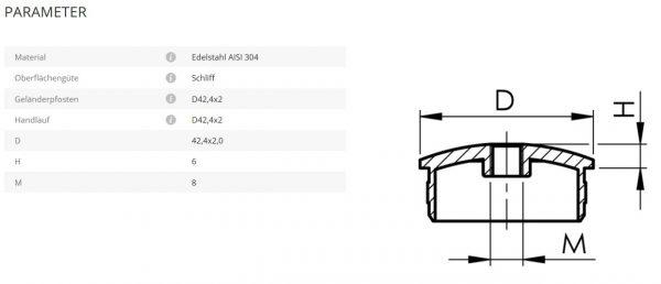 Rohrstütze Endkappe M8