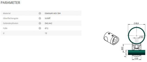 Querstabhalter 12 42,4