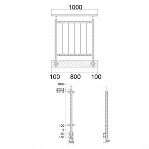 Edelstahlgeländer-I-Form-aufseitige Montage-vertikale Füllstäbe