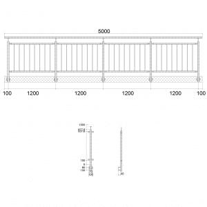 Edelstahlgeländer-I-Form-stirnseitige Montage-vertikale Füllstäbe